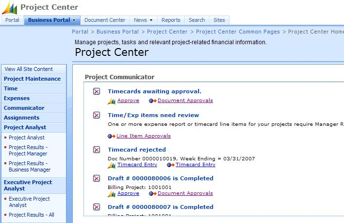 Communicator Web Part Screenshot before re-sorting
