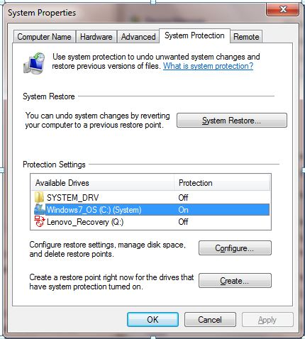 Windows 7 System Protection at the Drive Level